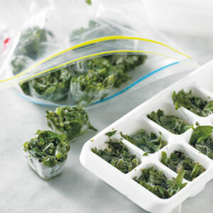 herbs in ice cube trays