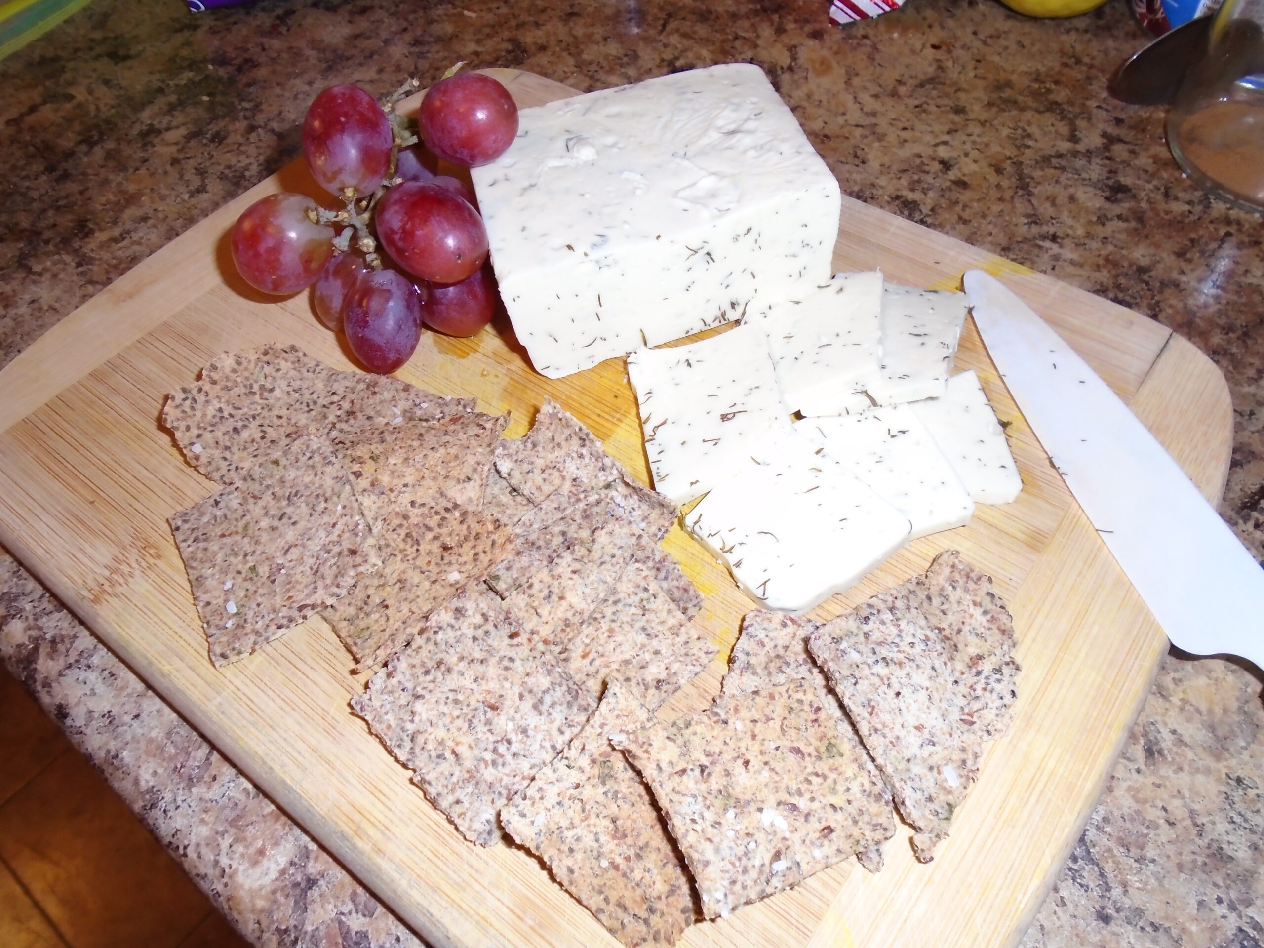 Almond Pulp Crackers with dairy free Dill Havarti Cheese and Grapes