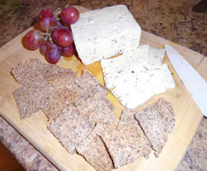 Non dairy Dill Havarti with homemade crackers