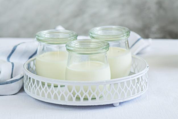 Non dairy yogurt in glass jars